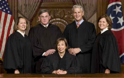 Tennessee Supreme Court Judges: Chief Justice Janice M. Holder, Justice Cornelia A. Clark, Justice Gary R. Wade, Justice William C. Koch, Jr., Justice Sharon G. Lee